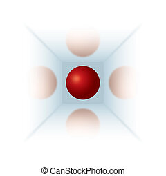 Red ball with reflections - Red ball in mirror cube with...
