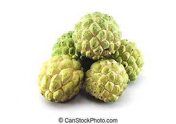 Custard apples group on white background with isolate