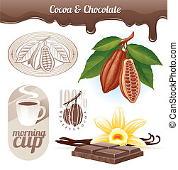 Cocoa beans and chocolate - Vector set - Cocoa beans and...