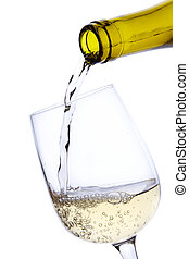 Pouring White Wine - White wine pouring from bottle into a...