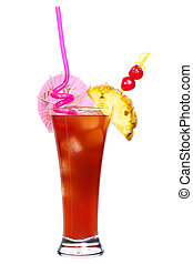 Singapore Sling - Cocktail Singapore Sling isolated on white