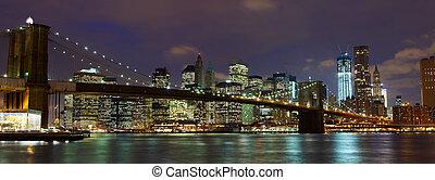 Brooklyn Bridge panorama - New York City Manhattan and...