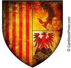 provence alpes cote d'azur coat of arms - old isolated over...