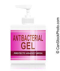 Antibacterial gel dispenser. - Illustration depicting a...