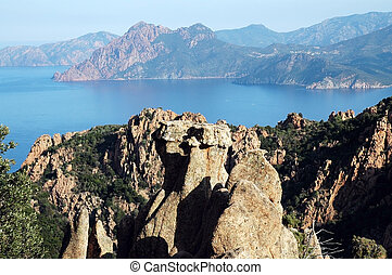 E Calanque di Piana, granite rocks, UNESCO heritage,...