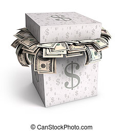 Saving Dollar - Several U.S. dollar bills in a paper box...