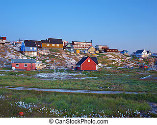 Ilulissat at dusk in summer, Greenland. - View from the...