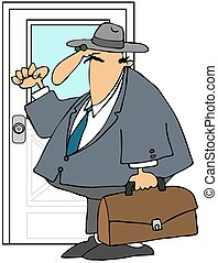 Door to Door Salesman - This illustration depicts a man...