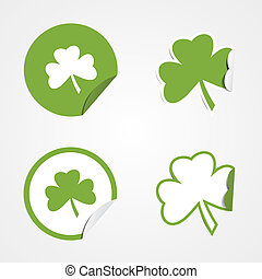 St Patricks Day Stickers - Green clover stickers for the St...