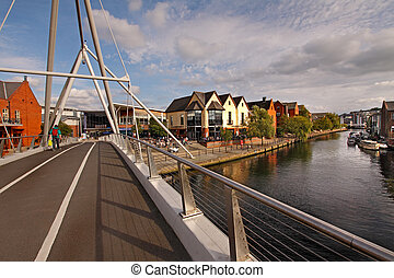 Bridge over the river Wensum - This pedestrian bridge over...
