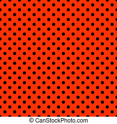 Bright Red & Black Polkadot Pattern - Seamless polkadot...