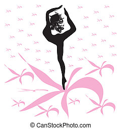 Silhouette of young woman dances
