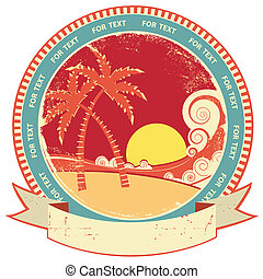 sea waves and island Vector vintage graphic illustration of...