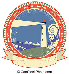 Lighthouse symbolVintage label on old paper texture