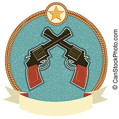 Western revolvers and sheriff star.Vector label illustration...
