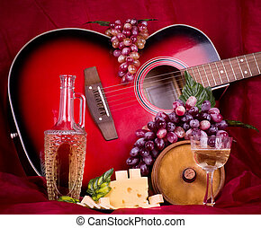 wine, grape, cheese and guitar - Beautiful composition with...