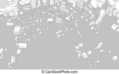 Abstract hand-drawn city architecture perspective urban map back