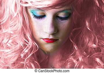 pink haired fairy girl - sad pink haired fairy girl