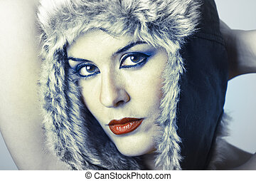 cold winter godess attracltive woman