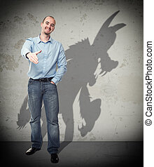 trust me - smiling businessman and wolf shadow