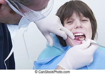 Ragazzo, dentale, clinica, visita, dottore, durante