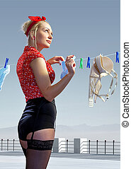woman hangs out washed underwear - beautiful housewife hangs...
