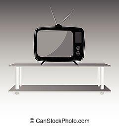 old tv on shelve illustration