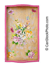 Wooden tray decorated with decoupage on white
