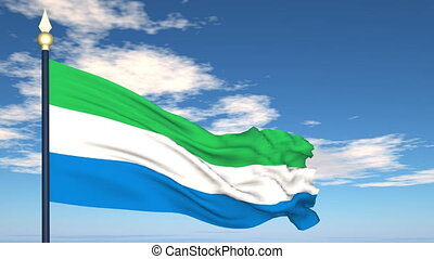 Flag Of Sierra Leone on the background of the sky and flying...