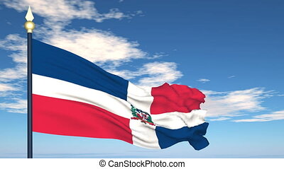 Flag Of Dominican Republic on the background of the sky and...