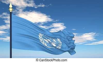Flag Of United Nations on the background of the sky and...