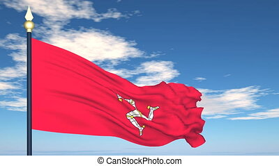 Flag Of Isle of Man on the background of the sky and flying...