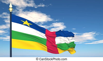 Flag Of Central African on the background of the sky and...