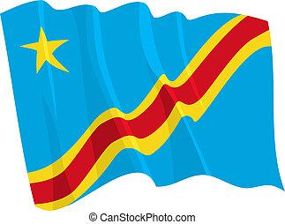 Political waving flag of Congo