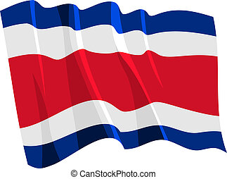 Political waving flag of Costa Rica