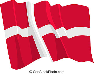 Political waving flag of Denmark