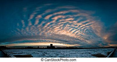 Cloudy sunrise in city - Cloudy and beautiful sunrise in big...