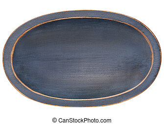 oval wood trencher dough bowl with blue grunge finish...