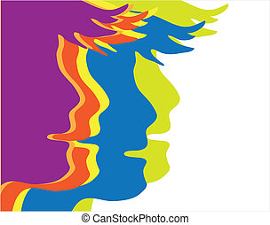 human head - vector profiles of young people painted in...