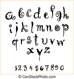 vector alphabet - vector decorative alphabet and numerals on...