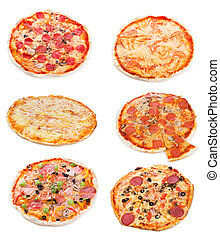 set with different pizza on white background