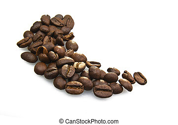 Coffee beans close up on white background
