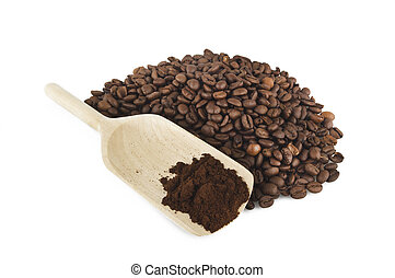 a spoon with Coffee powder