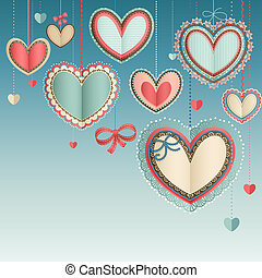 Valentine`s Day vintage card with lacy paper hearts in the...