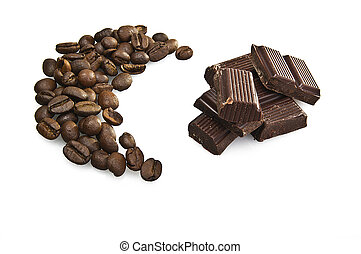 Coffee beans and chocolate close up on white background