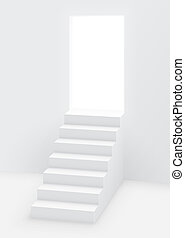 White staircase to open door