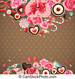 Valentine`s Day vintage card with sweets and place for text