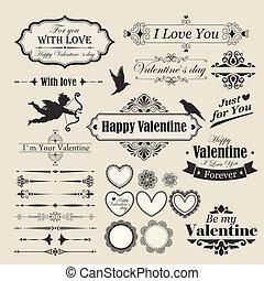 Valentine`s Day vintage design elements and letterning
