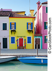 Colorful houses - Island Burano, traditional colorful houses