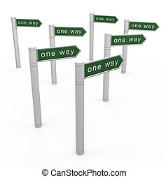 One way concept. 3d isolated on white